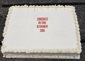 Coro's retirement cake